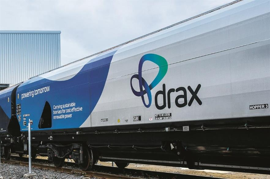 Biomass is transported to the Drax power station in specialised wagons