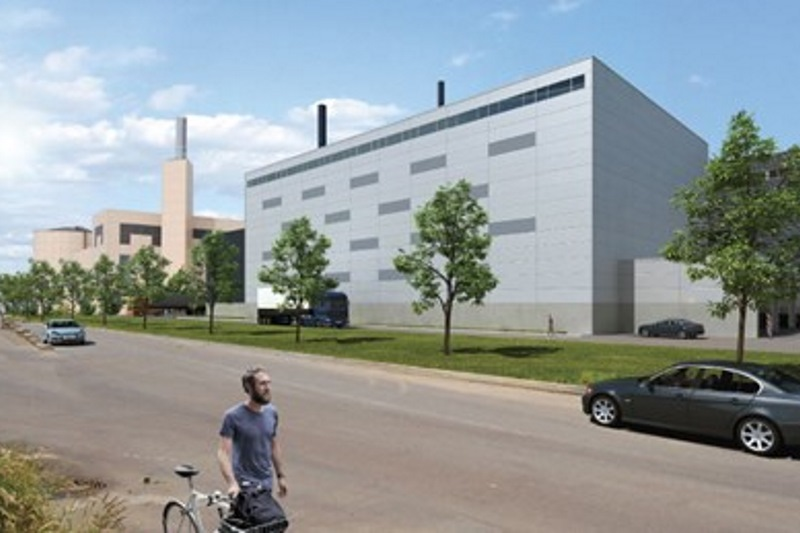 Fjernvarme Horsens' planned biomass unit, with its gas and waste-fired CHP plant in the background
