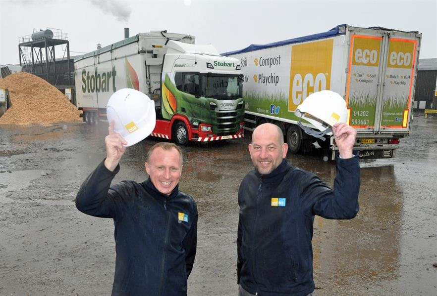 Peter Hardy, Eco's commercial director (left) and Rob Wareham, logistics coordinator, with two lorries supplying Margam