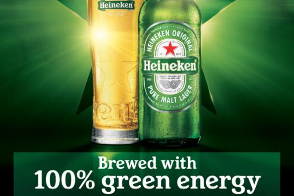 Dutch-brewed Heineken is produced entirely from renewable sources. Image: Heineken