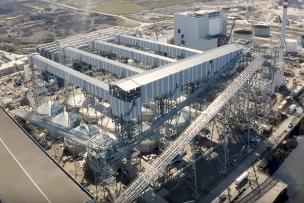 The biomass-fired plant pictured in April last year, image copyright Buttimer Engineering, which installing all the materials handling equipment, transfer towers, gantries and silos