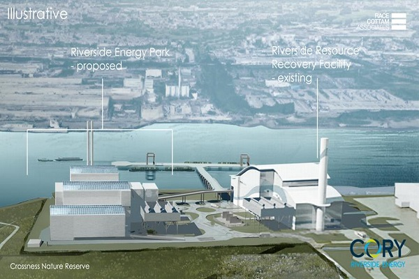 An artist's impression of the new EfW plant alongside the current one