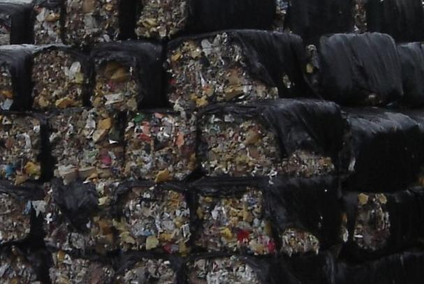Baled waste for export