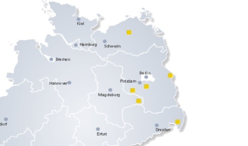 The biogas plant's location is shown in yellow