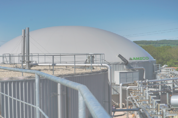 A biogas plant built by the company, image coyright amzco.co.uk