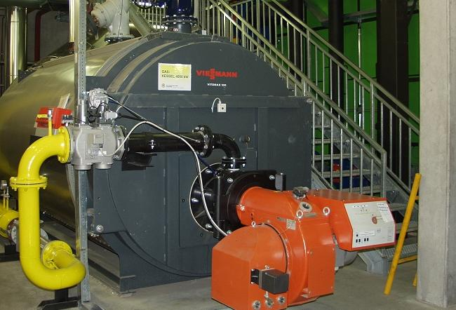 A small-scale biomass boiler installed in Austria