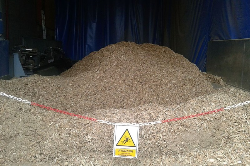 Wood chips ready to burn. Photograph: Slastic/Wikimedia Commons
