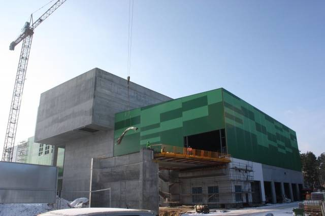 The EfW plant is taking shape on the outside