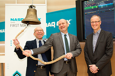Better times: Cortus CEO Rolf Ljunggren (centre) opens trading at the NASDAQ OMX in Stockholm in 2013