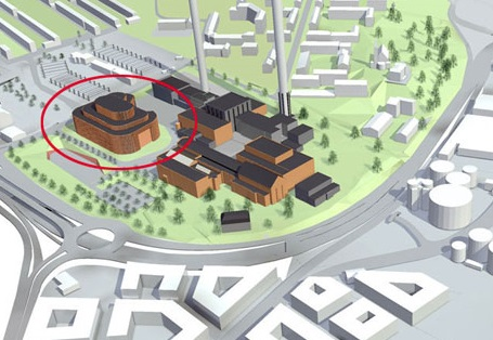 An artist's impression of the facility (ringed in red) next to the existing coal-powered plant