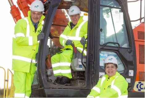 Councillors Derek Rosie, Jim Bryant and Lesley Hinds help the work get underway