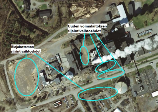 Possible locations of the new plant and biorefinery
