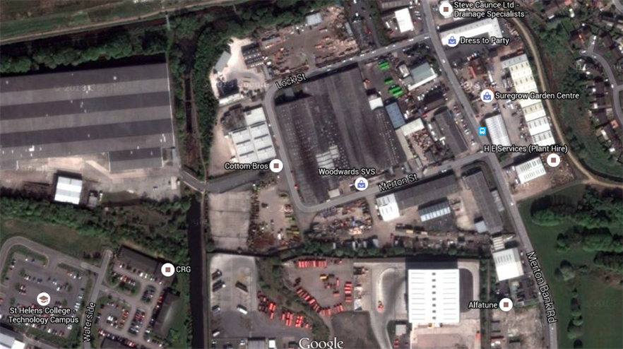 the site of the planned development: copyright Google.co.uk