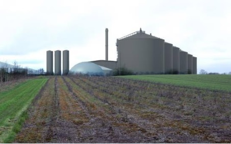 An artist's impression of a large-scale biogas facility, image Nature Energy