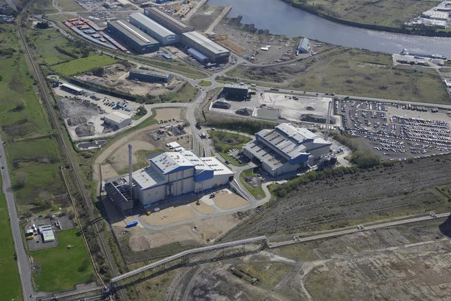 An aerial view of the new facility (left) pictured alongside SITA Tees Valley Lines 1,2 & 3 (right)