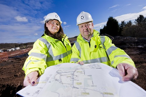 L-R Fulcrum business development manager, Deborah Heary and major projects manager Mick Carter on site at Wellbeck Colliery
