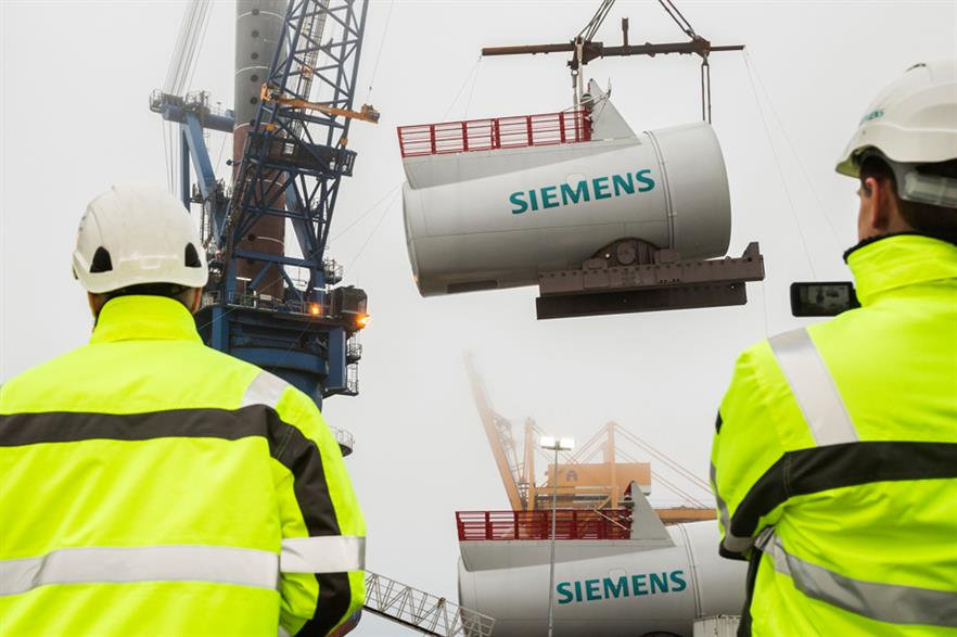 Two Siemens 6MW turbines were installed for offshore testing at Gunfleet Sands in early 2013