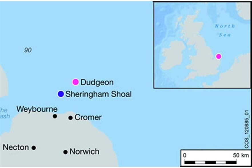 Dudgeon Offshore Wind Farm location map