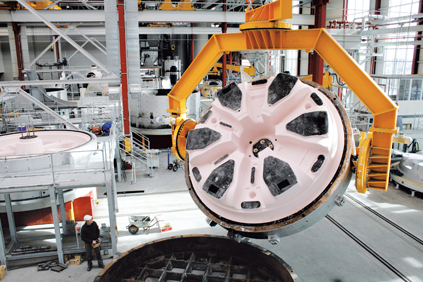 Enercon has its own foundry to cast parts including the huge generator stator bell for E-101 turbines