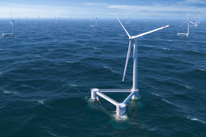 The WindFloat can be assembled near the shore and towed out to sea
