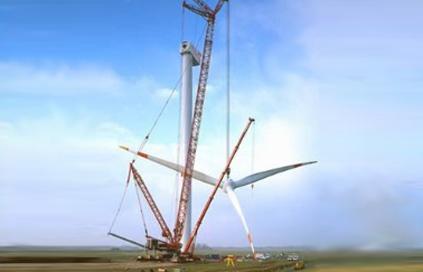 A Sany 2MW turbine under construction