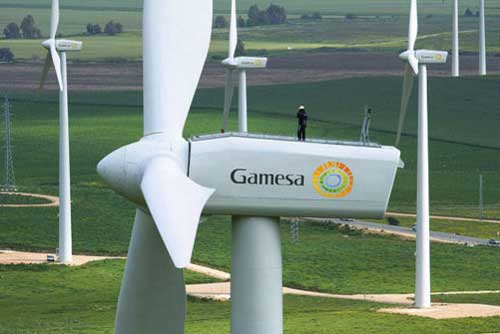 Gamesa's 2MW turbine is at the centre of the row