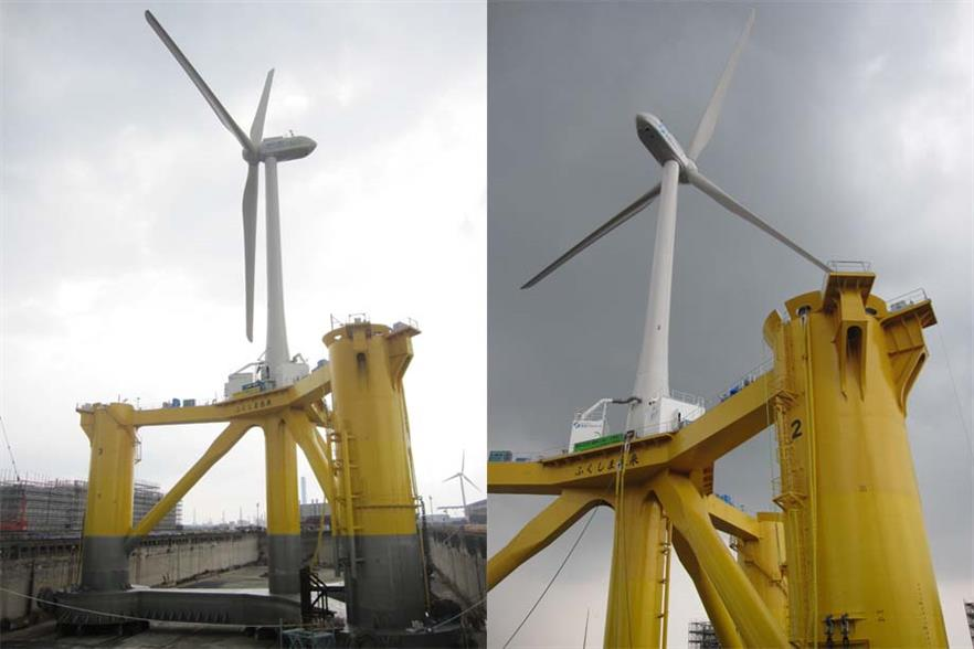 The two 2MW turbines to be floated 20km off Fukushima
