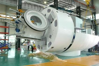 The Avantis AV 928 turbine with its distinctly-shaped nacelle