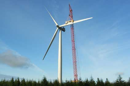 A Siemens 2.5MW in construction at Whitelee