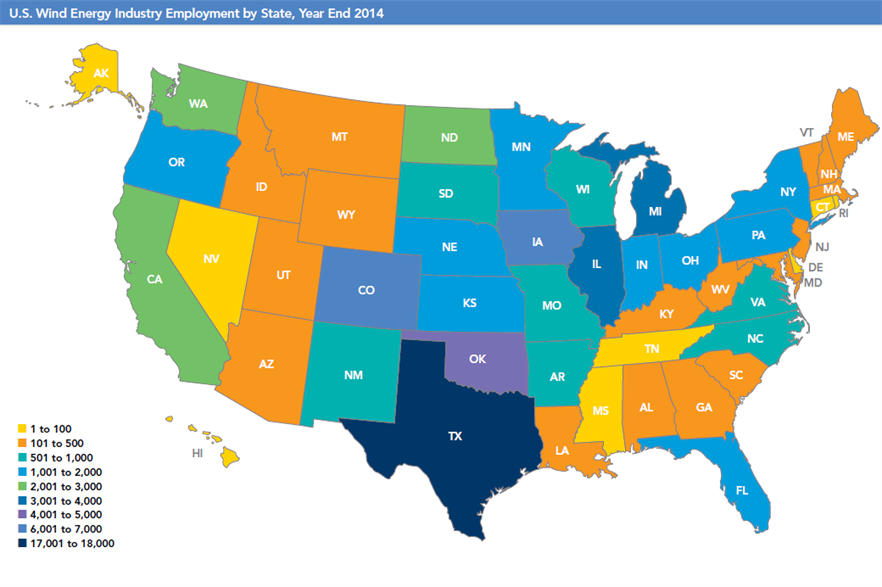AWEA shows the number of employees in the industry by state, with Texas having the most