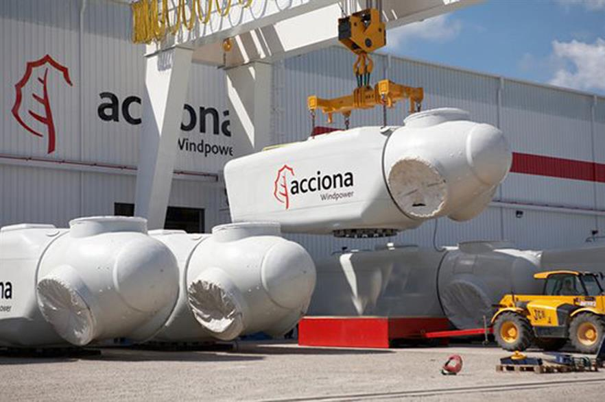Acciona's total installed wind capacity fell due to the sale of assets