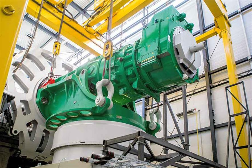 Winergy gearbox for 8MW Adwen turbine developed with roller-type and journal bearings