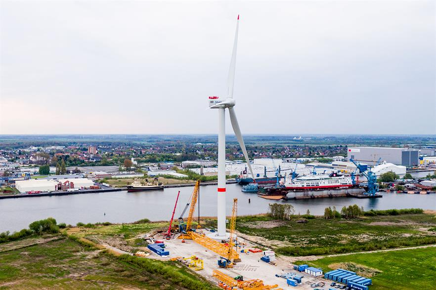 The completed Adwen AD 8-180 8MW prototype turbine in Bremerhaven