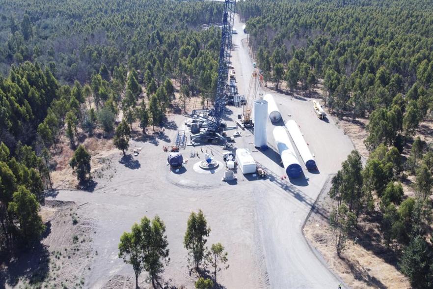 Mainstream Renewable Power's 84MW Alena wind farm, under construction in Chile's southern region of Biobío