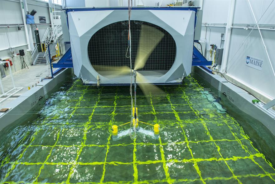 Aqua Ventus will use UMaine's VolturnUS concept – a semi-submersible concrete, four-column floating platform – being tested above