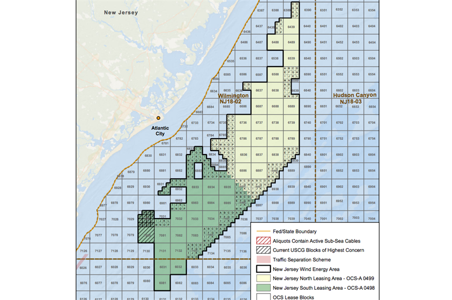 US Wind has provisionally won the New Jersey north lease (yellow), and RES the south (green)