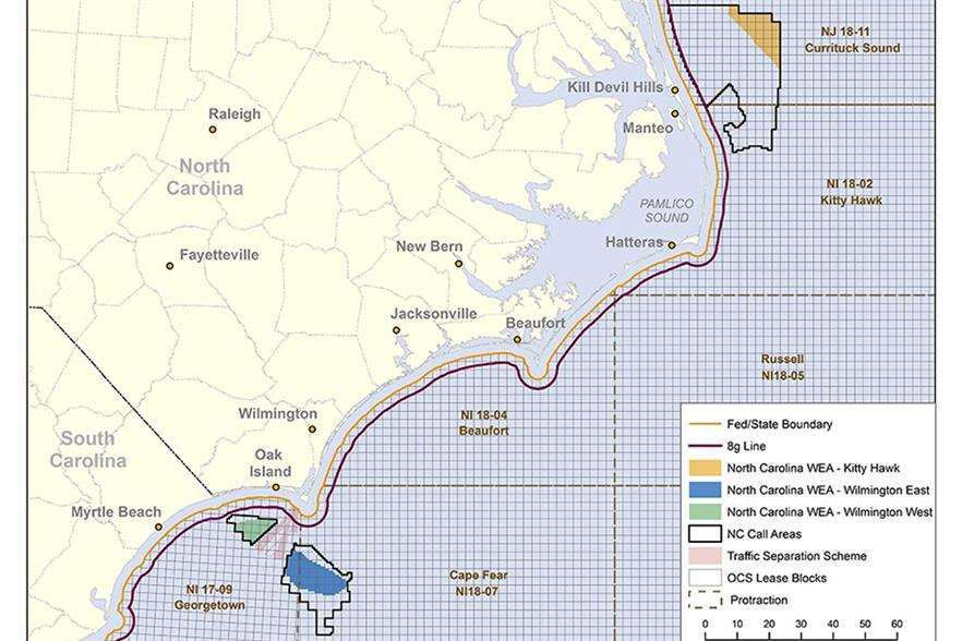 The final zones off the coast of North Carolina zones marked in yellow, blue and green