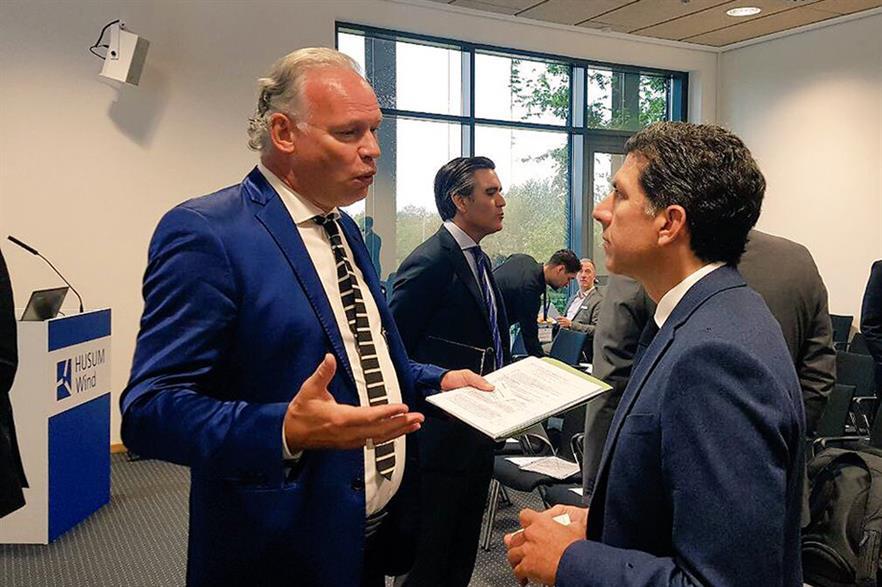 Hermann Albers (left) in talks at Husum Wind 2017 (pic: BWE)