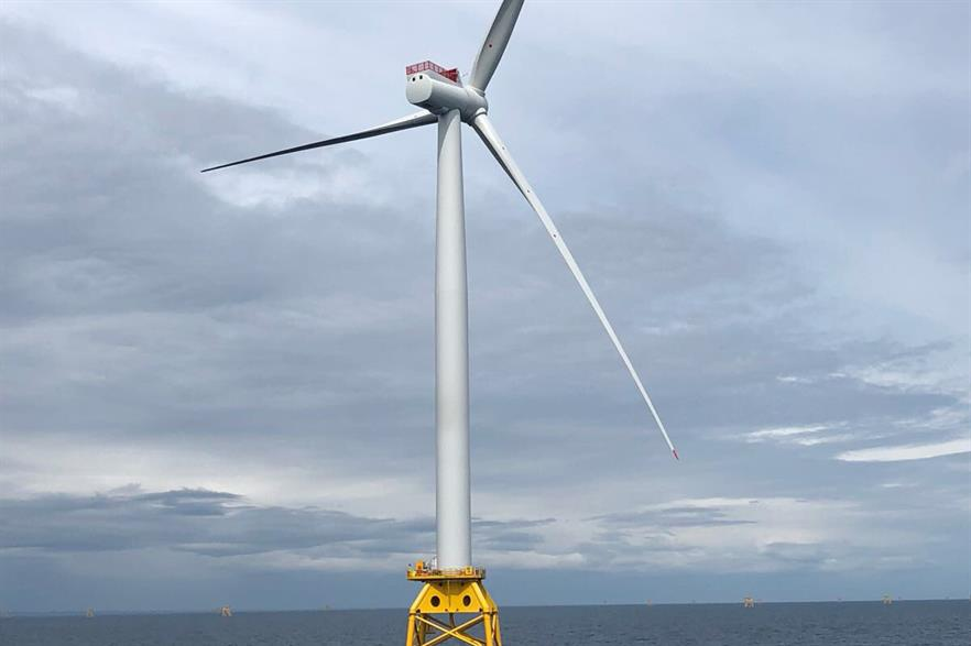 The first of 84 SWT-7.0-154 turbines has been installed off Scotland's east coast (pic: Beatrice Offshore Wind Limited)