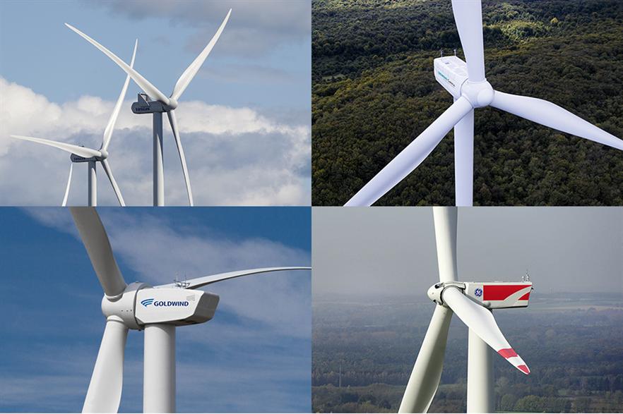 The 'big four' - clockwise from top left: Vestas, Siemens Gamesa, GE and Goldwind