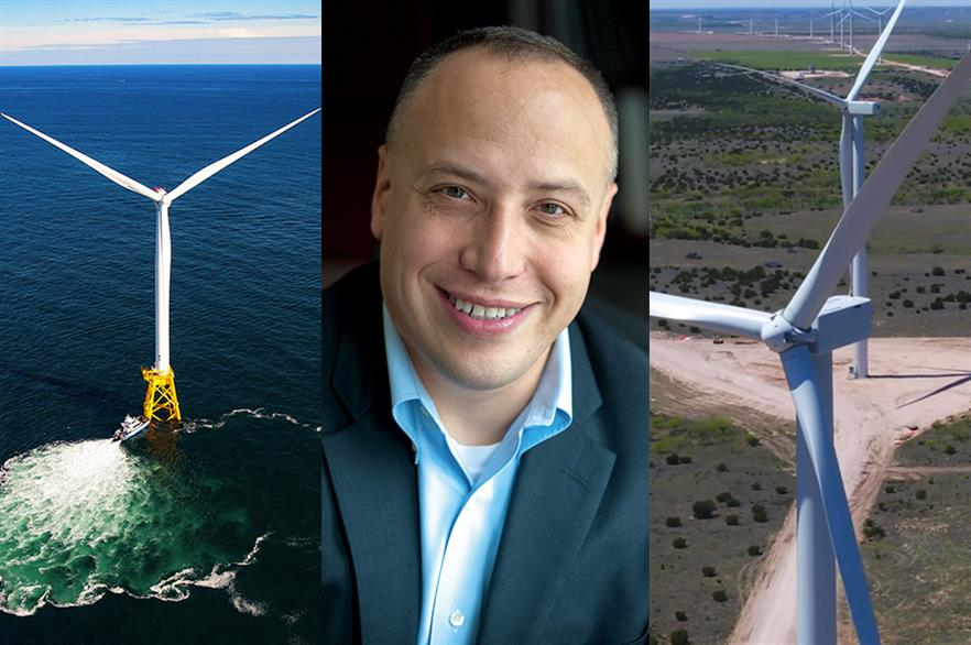 Deepwater Wind's Block Island project (left), its CEO Jeff Grybowski (centre) and Lincoln Clean Energy's Amazon Wind Farm Texas (right)