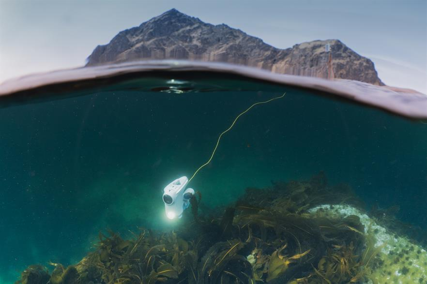 The small underwater drone can travel up to 150 metres below sea level