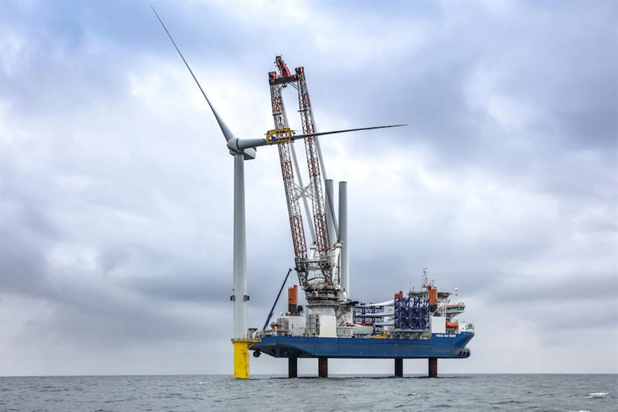 The second blade being installed on the first turbine at EDF Energy Renewables' Blyth test site