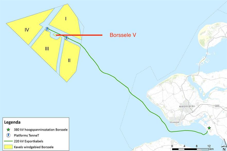 Borssele V is located just north of Borssele III