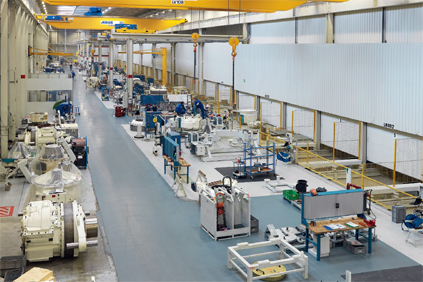 Hansen's Lommel factory. Gear box assembly takes place in increasingly clean production halls