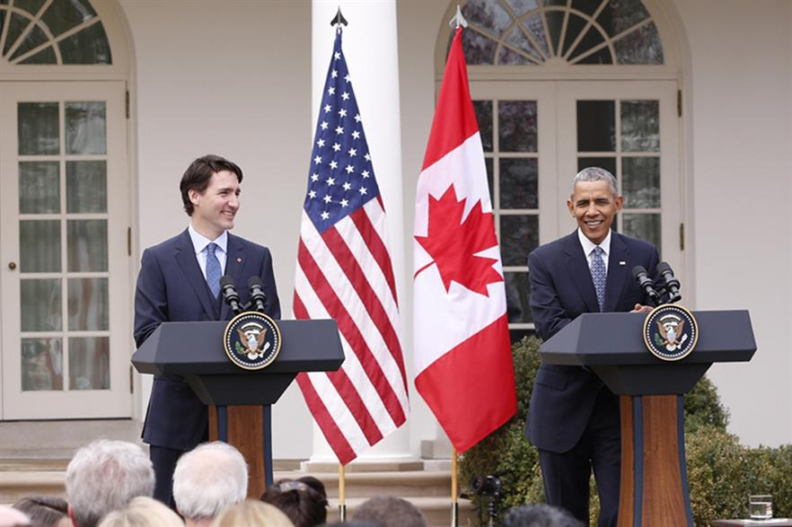 Canadian prime minister Justin Trudeau (left) with US president Barack Obama at the White House