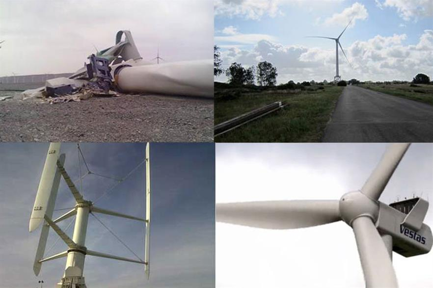 Clockwise from top left - Ming Yang turbine collapse, Alstom Haliade, Vestas V112, Vertiwind's 35kW prototype