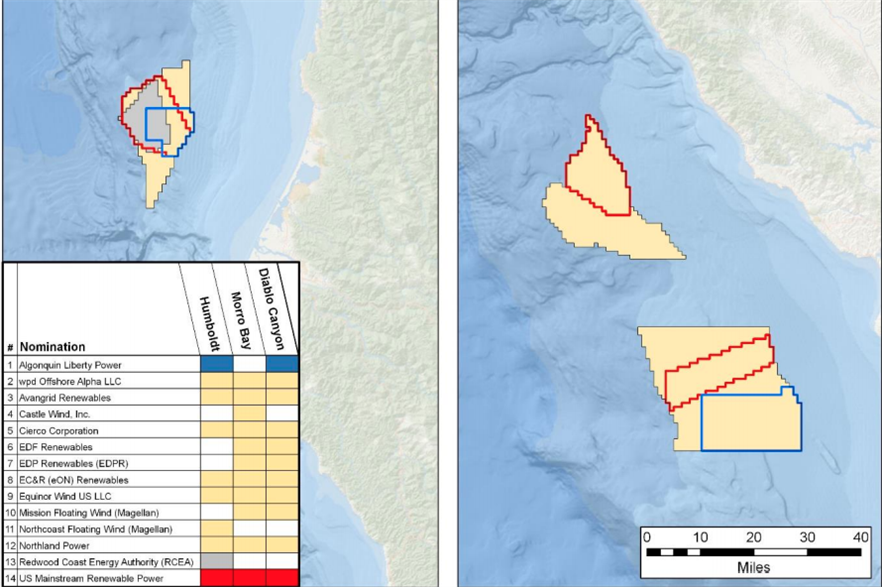 Fourteen companies or consortiums expressed an interest in developing floating wind projects off California (pic: BOEM)