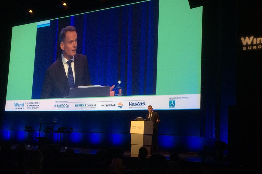 WindEurope chairman and RES CEO, Ivor Catto, addresses delegates at WindEurope 2017 conference and exhibition