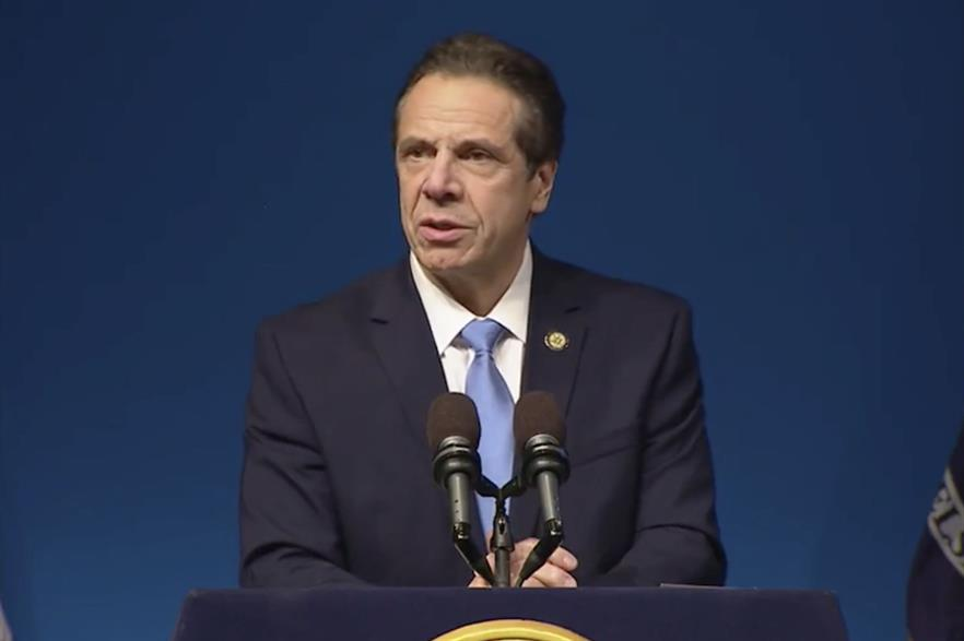 New York governor Andrew Cuomo delivering his state of the state and budget address